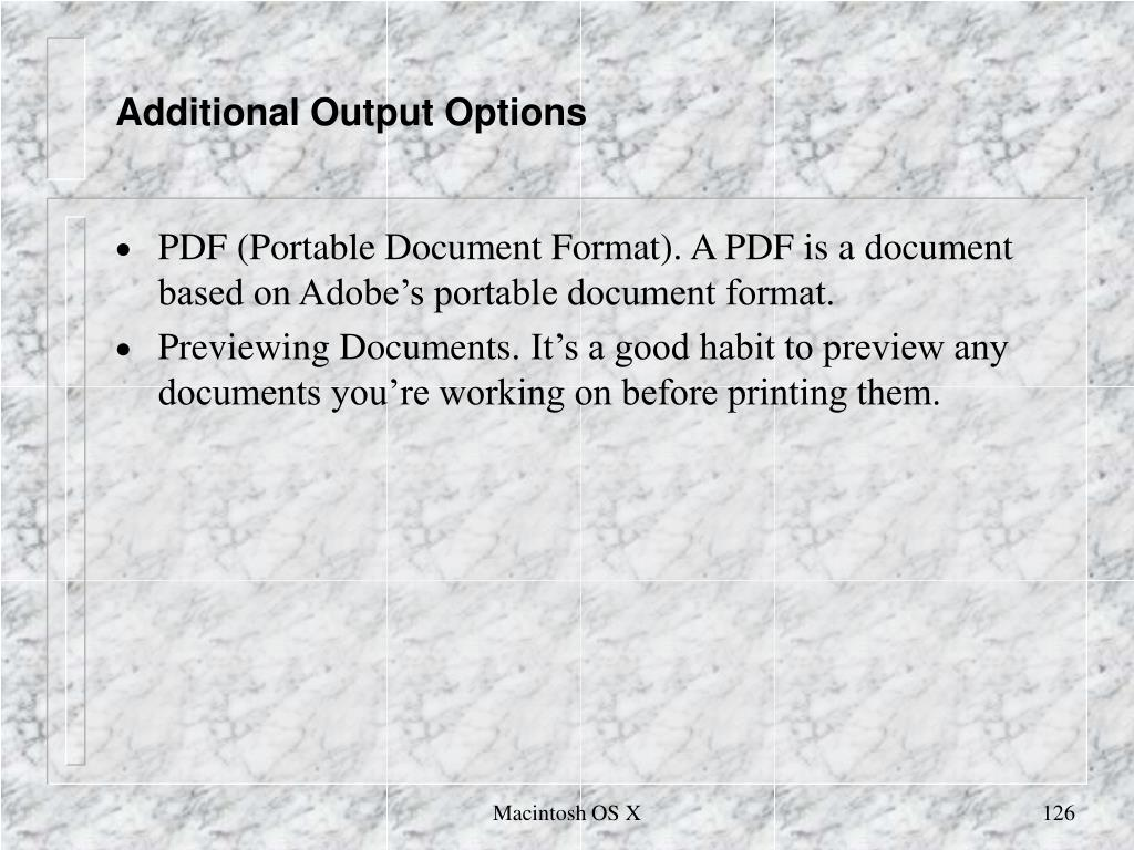 Additional Output Options