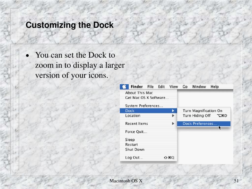 Customizing the Dock