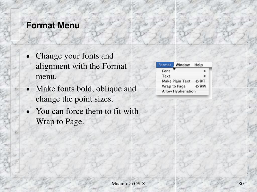 Format Menu