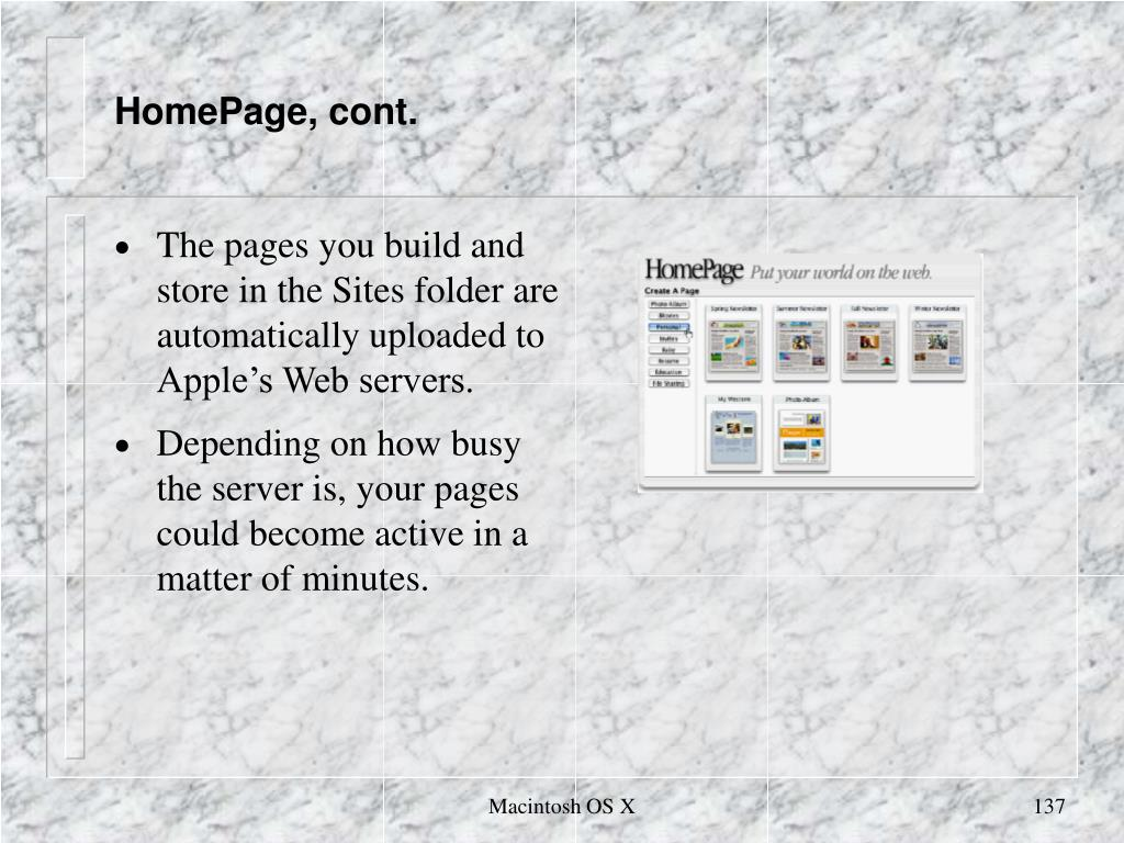 HomePage, cont.