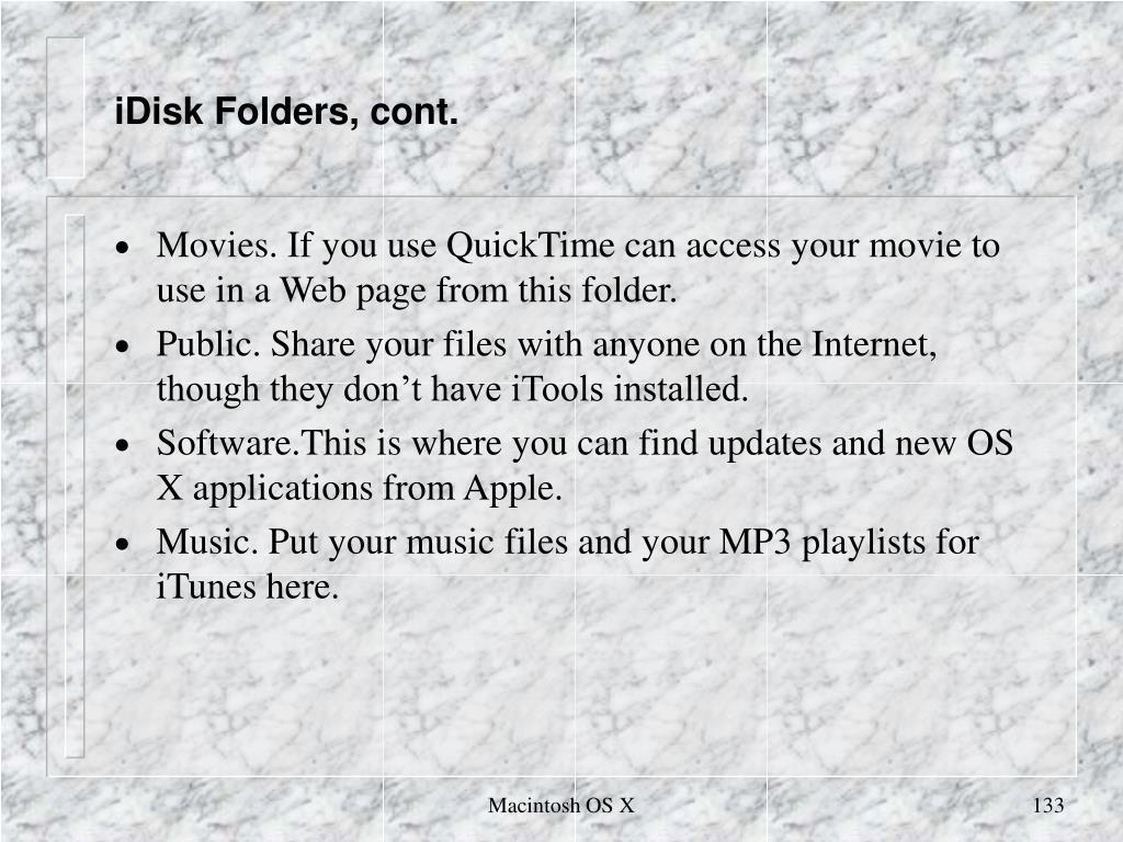 iDisk Folders, cont.