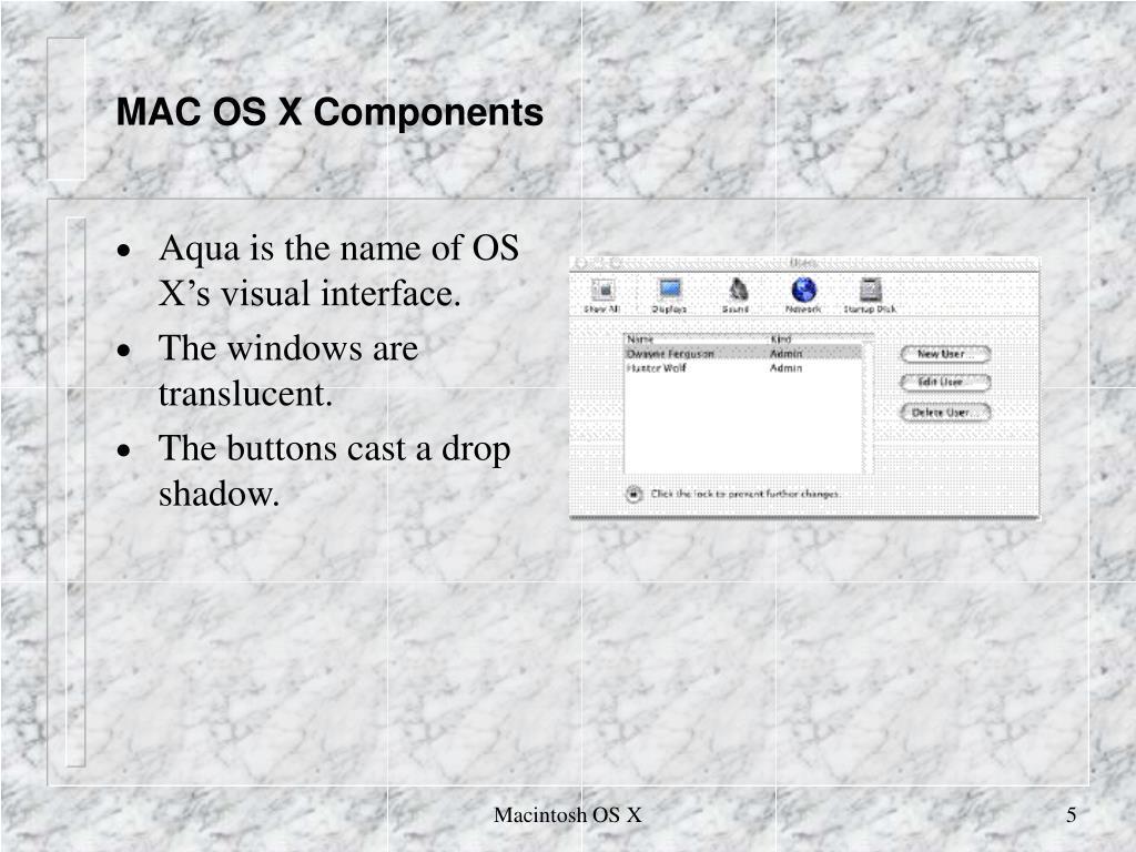 MAC OS X Components