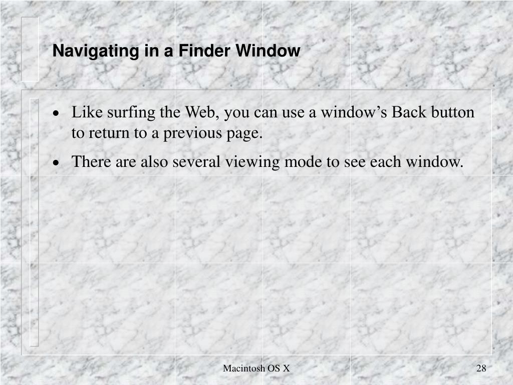 Navigating in a Finder Window