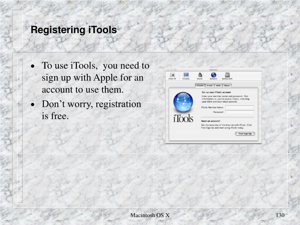 Registering iTools
