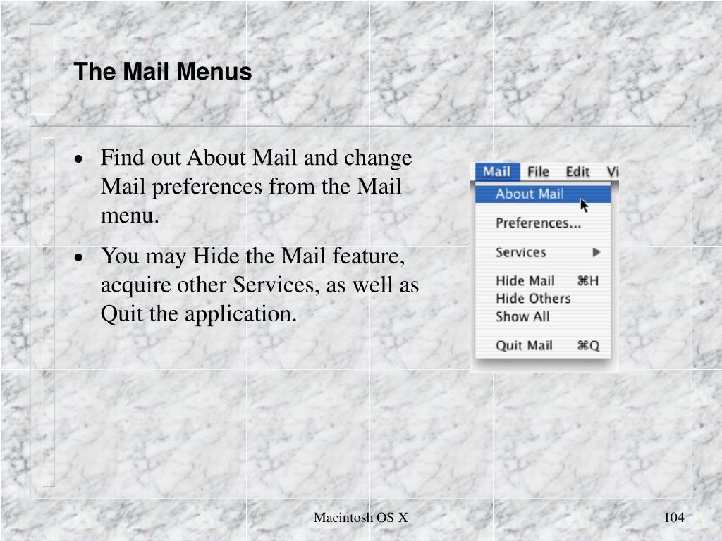 The Mail Menus