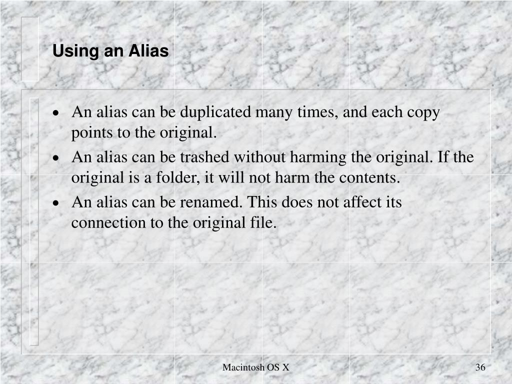 Using an Alias