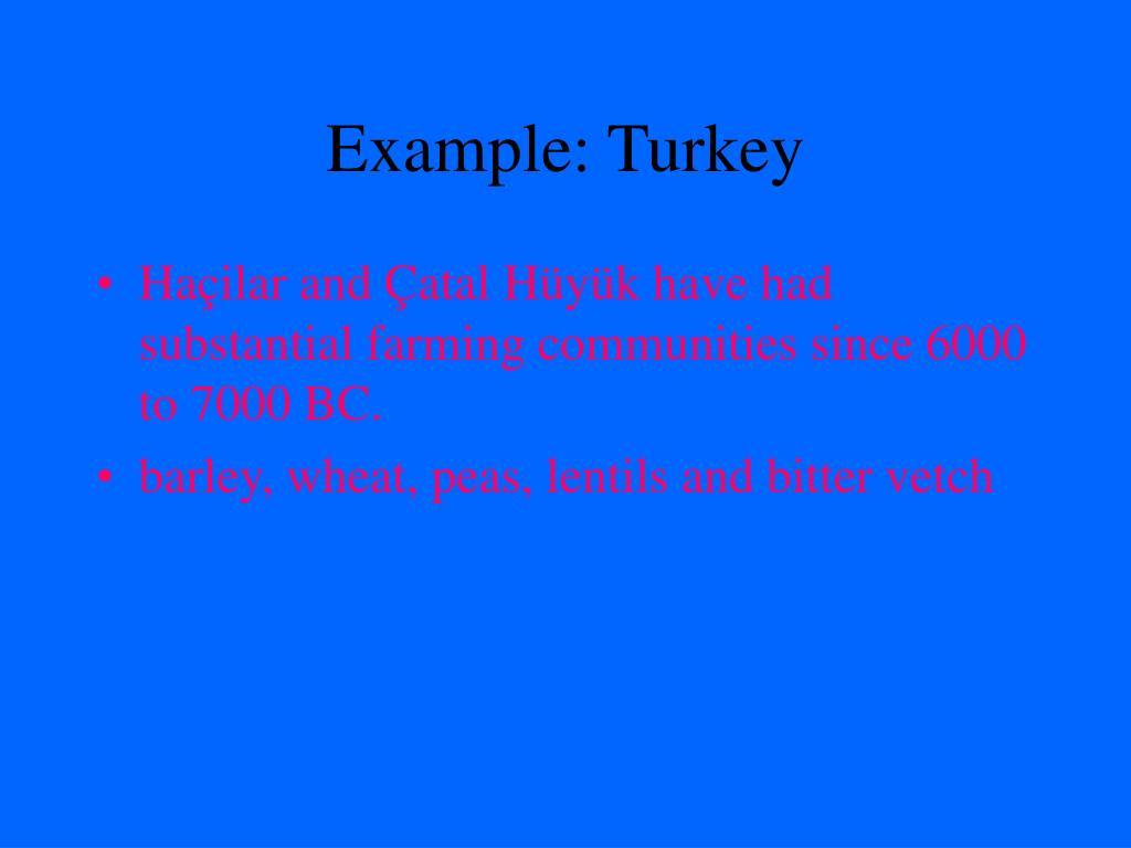 Example: Turkey