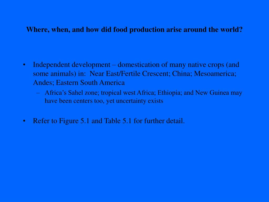 Where, when, and how did food production arise around the world?
