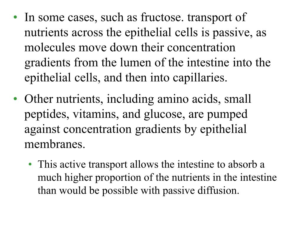In some cases, such as fructose. transport of nutrients across the epithelial cells is passive, as molecules move down their concentration gradients from the lumen of the intestine into the epithelial cells, and then into capillaries.