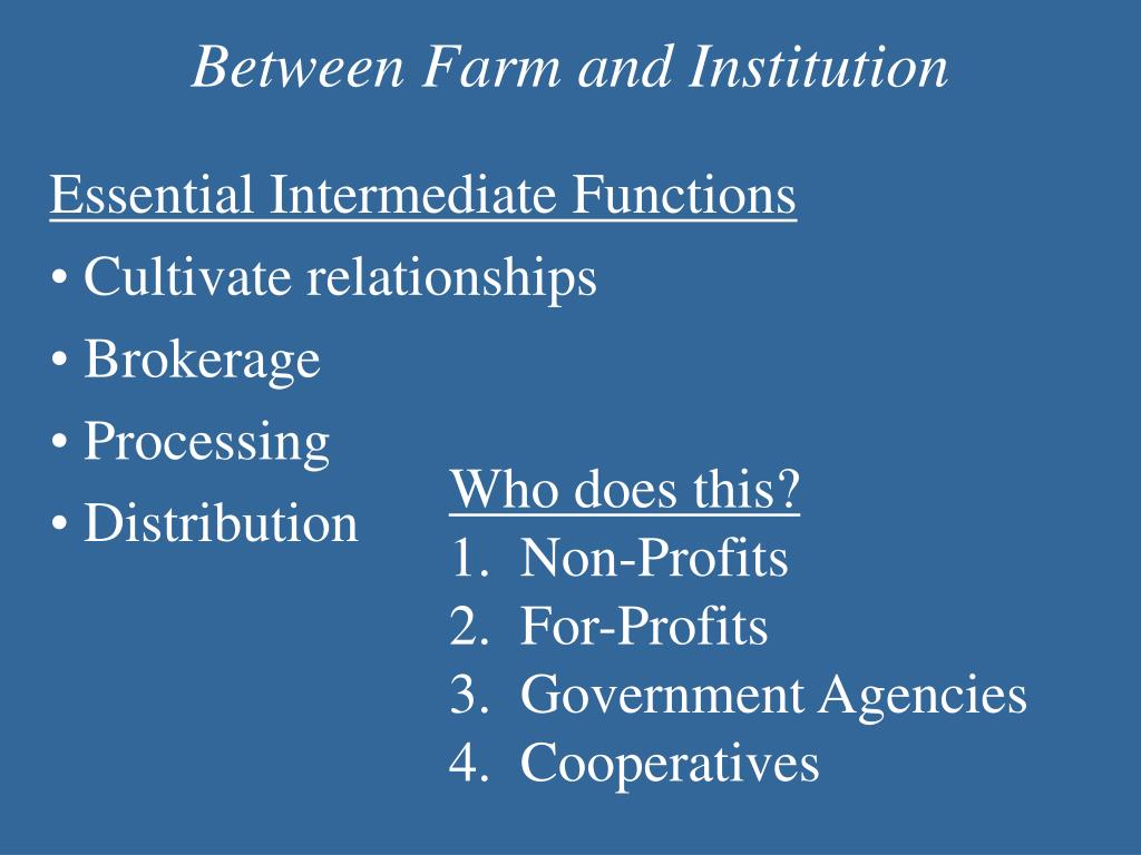 Between Farm and Institution