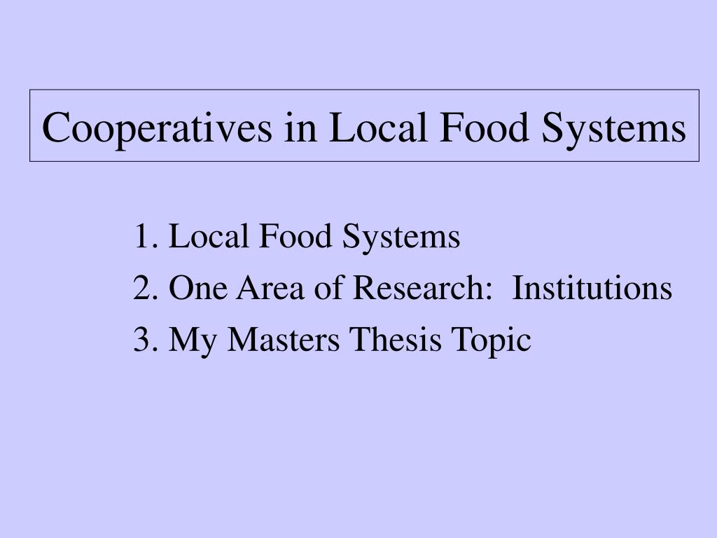 Cooperatives in Local Food Systems