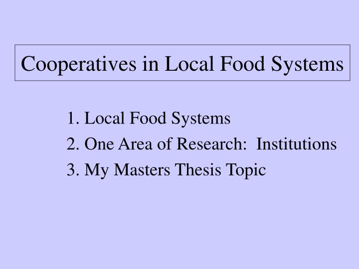 Cooperatives in local food systems2