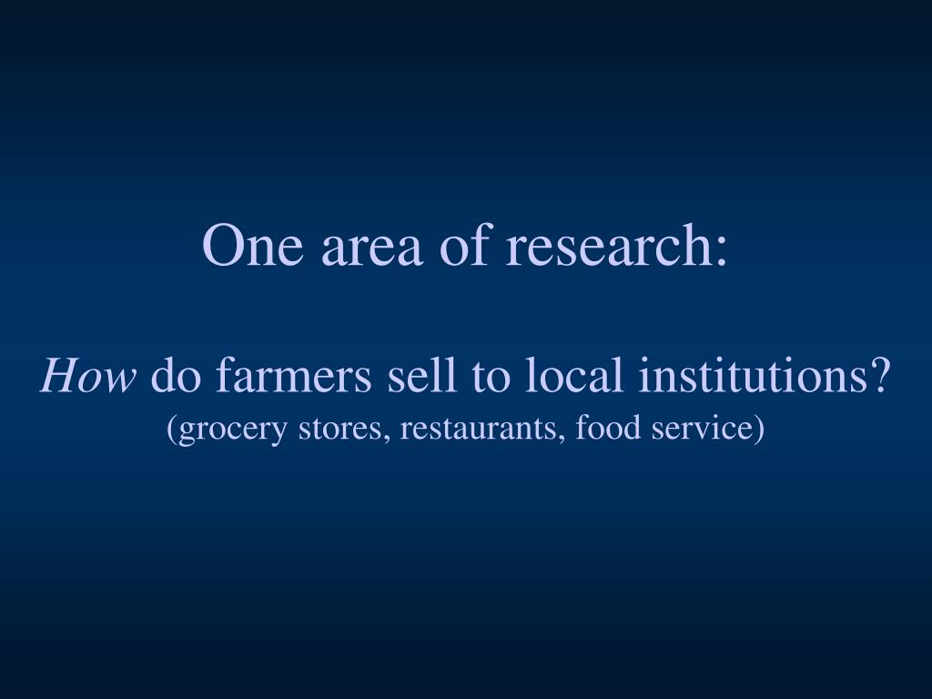 One area of research: