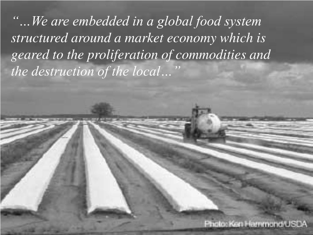 """…We are embedded in a global food system structured around a market economy which is geared to the proliferation of commodities and the destruction of the local…"""