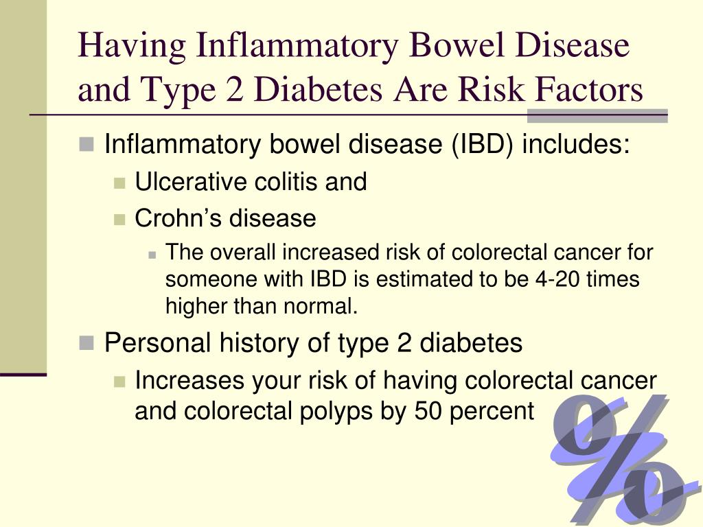 Having Inflammatory Bowel Disease and Type 2 Diabetes Are Risk Factors