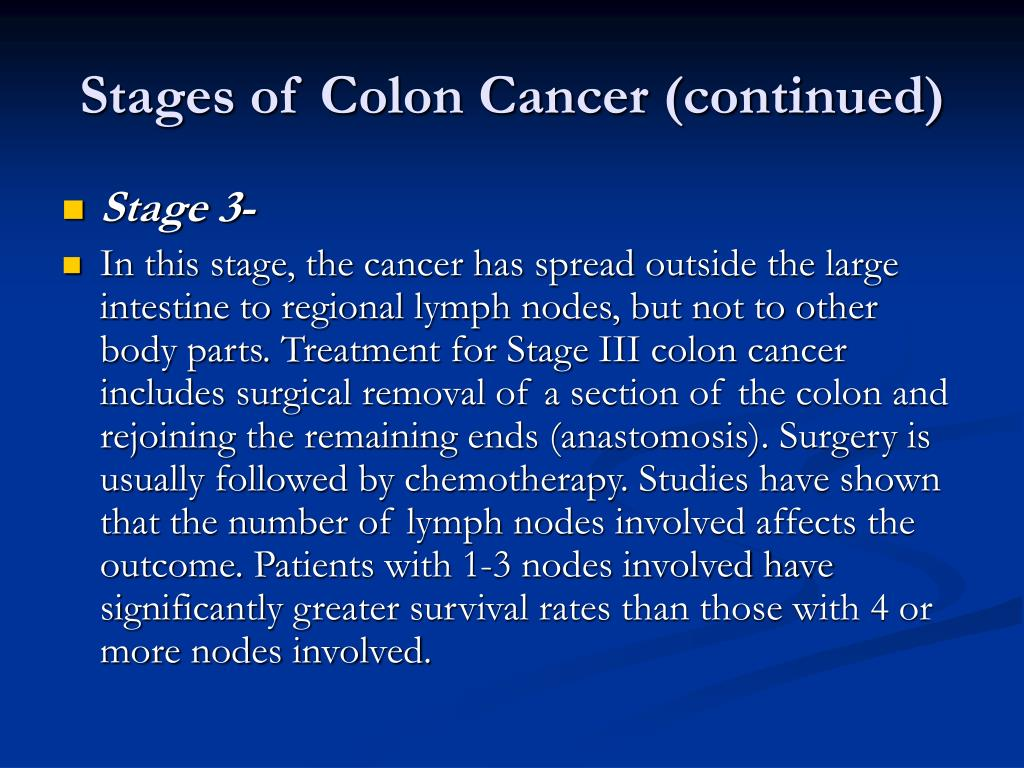 Stages of Colon Cancer (continued)