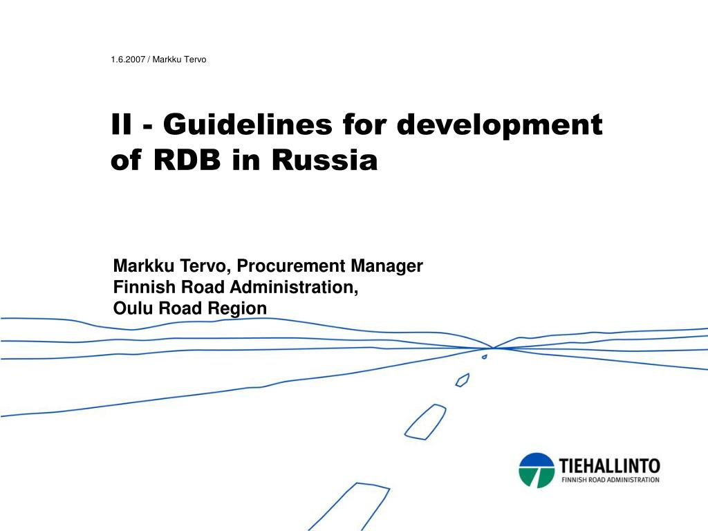 II - Guidelines for development of RDB in Russia