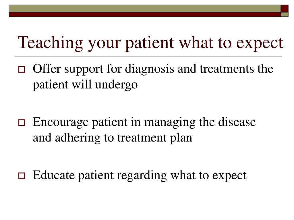Teaching your patient what to expect