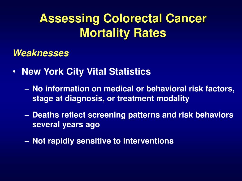 Assessing Colorectal Cancer Mortality Rates