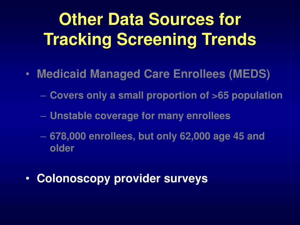 Other Data Sources for Tracking Screening Trends