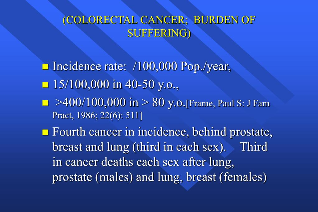 (COLORECTAL CANCER;  BURDEN OF SUFFERING)