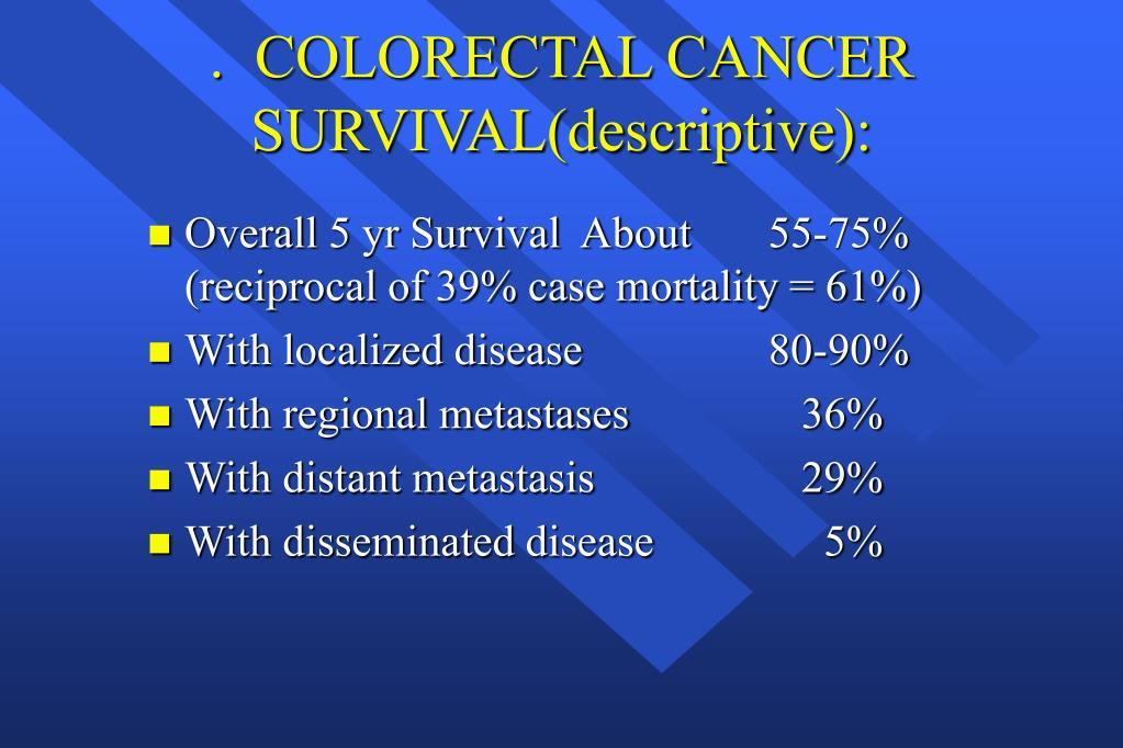 .  COLORECTAL CANCER SURVIVAL(descriptive):