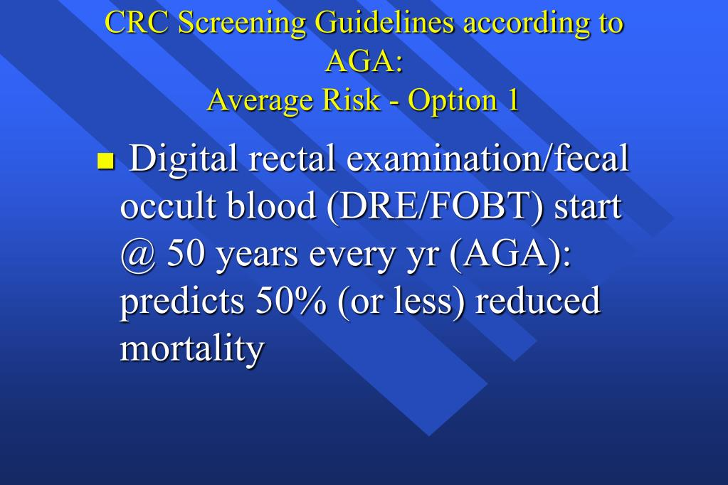 CRC Screening Guidelines according to AGA: