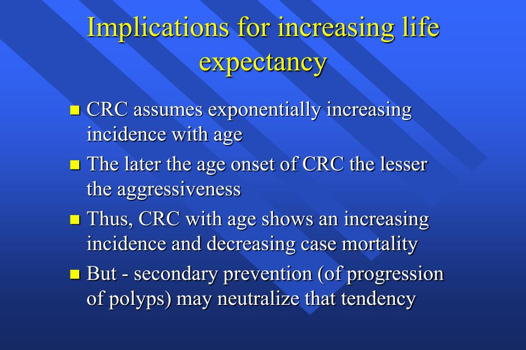 Implications for increasing life expectancy