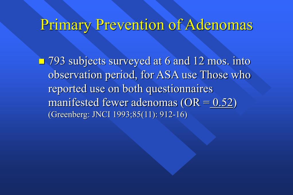 Primary Prevention of Adenomas