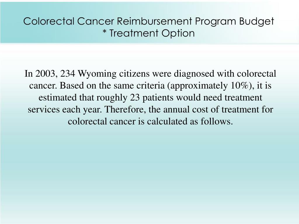 Colorectal Cancer Reimbursement Program Budget