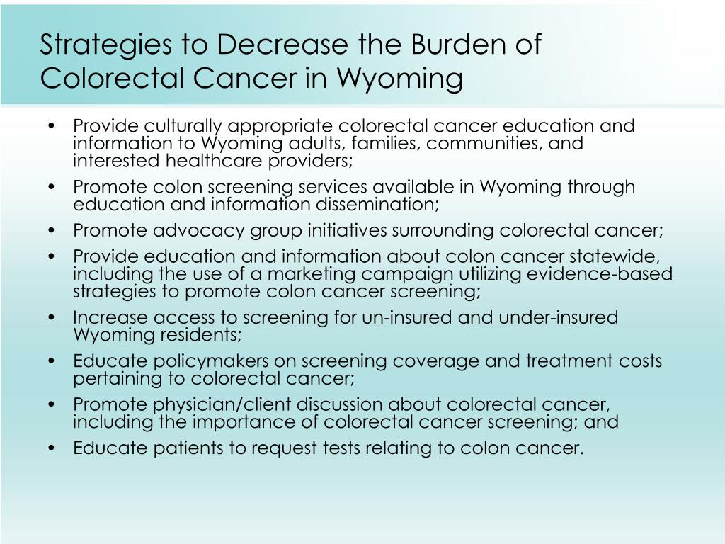 Strategies to Decrease the Burden of Colorectal Cancer in Wyoming