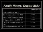 family history empiric risks