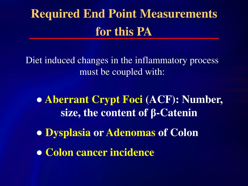 Required End Point Measurements