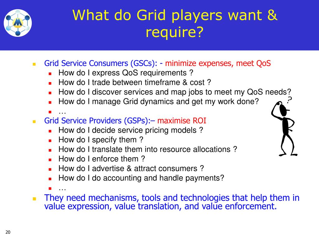 What do Grid players want & require?