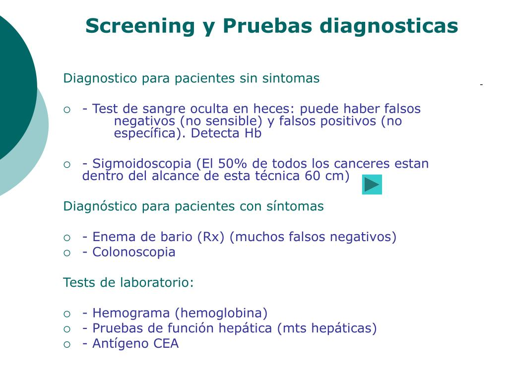 Screening y Pruebas diagnosticas