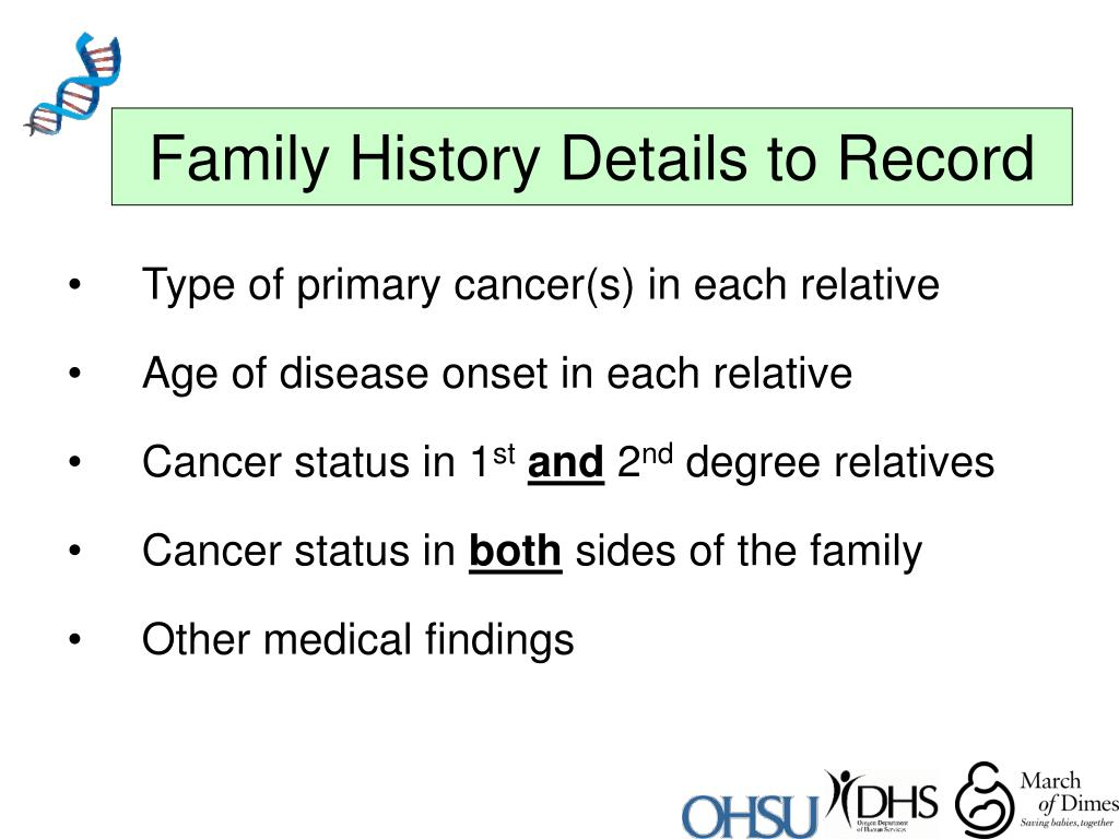 Family History Details to Record