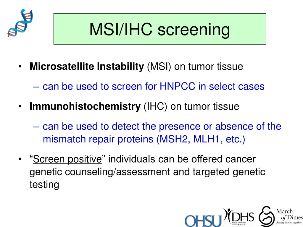 MSI/IHC screening