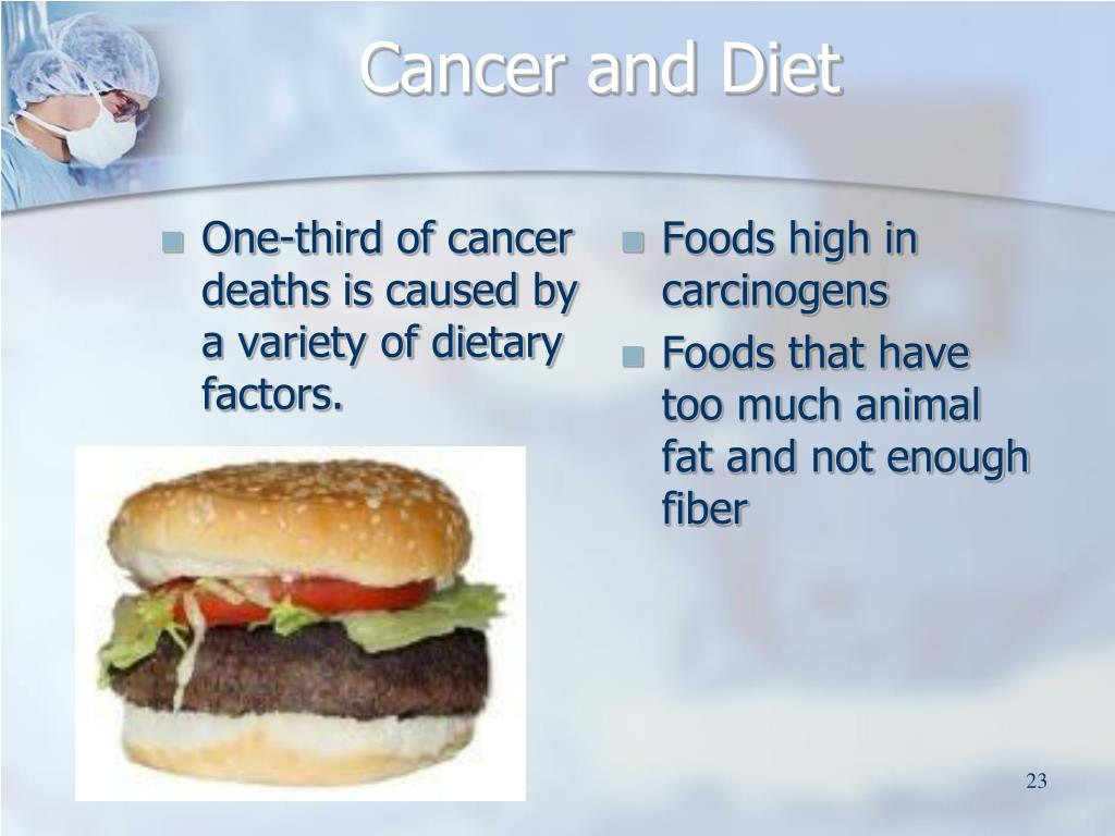One-third of cancer deaths is caused by a variety of dietary factors.