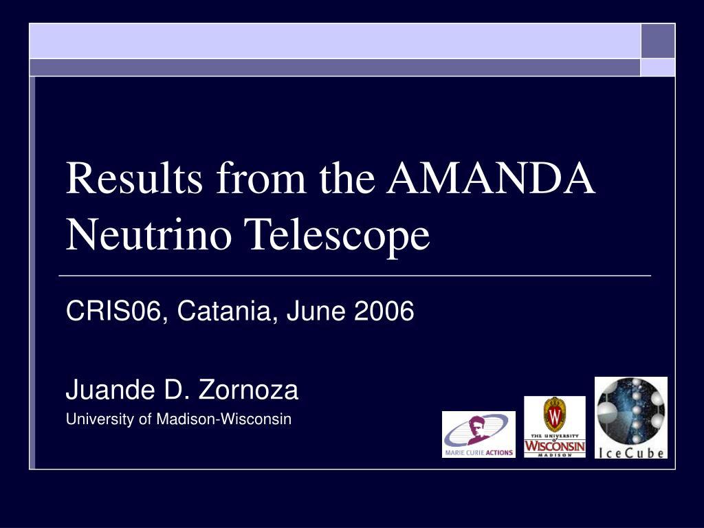 Results from the AMANDA Neutrino Telescope
