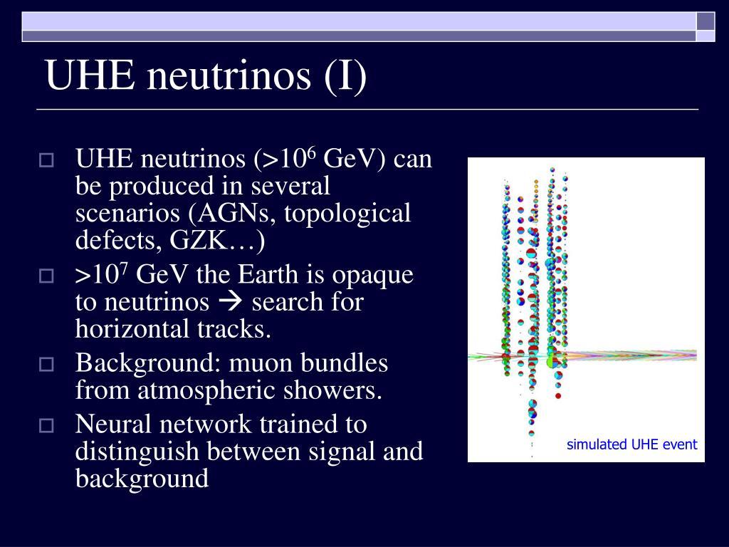 UHE neutrinos (I)