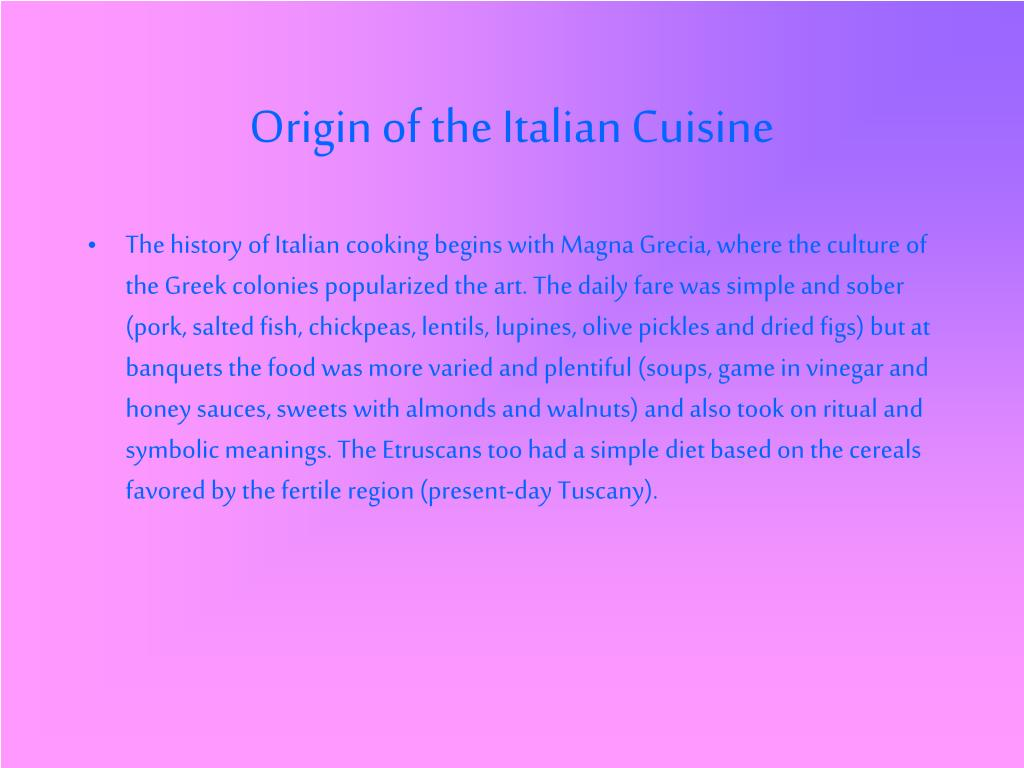 Origin of the Italian Cuisine