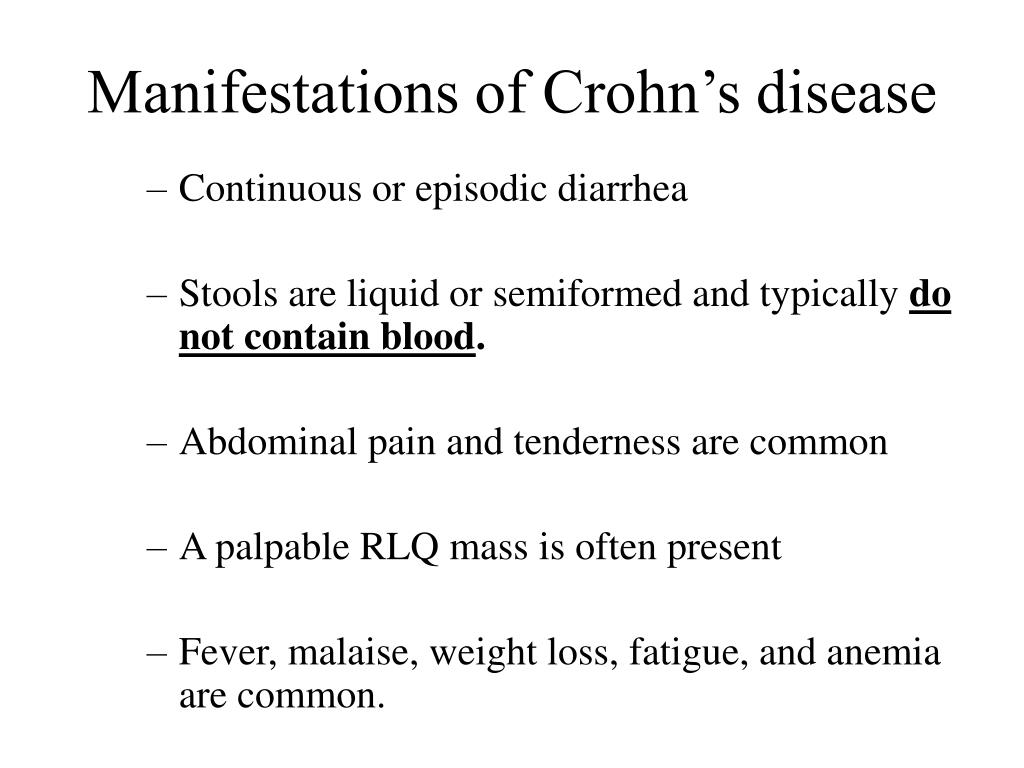 Manifestations of Crohn's disease