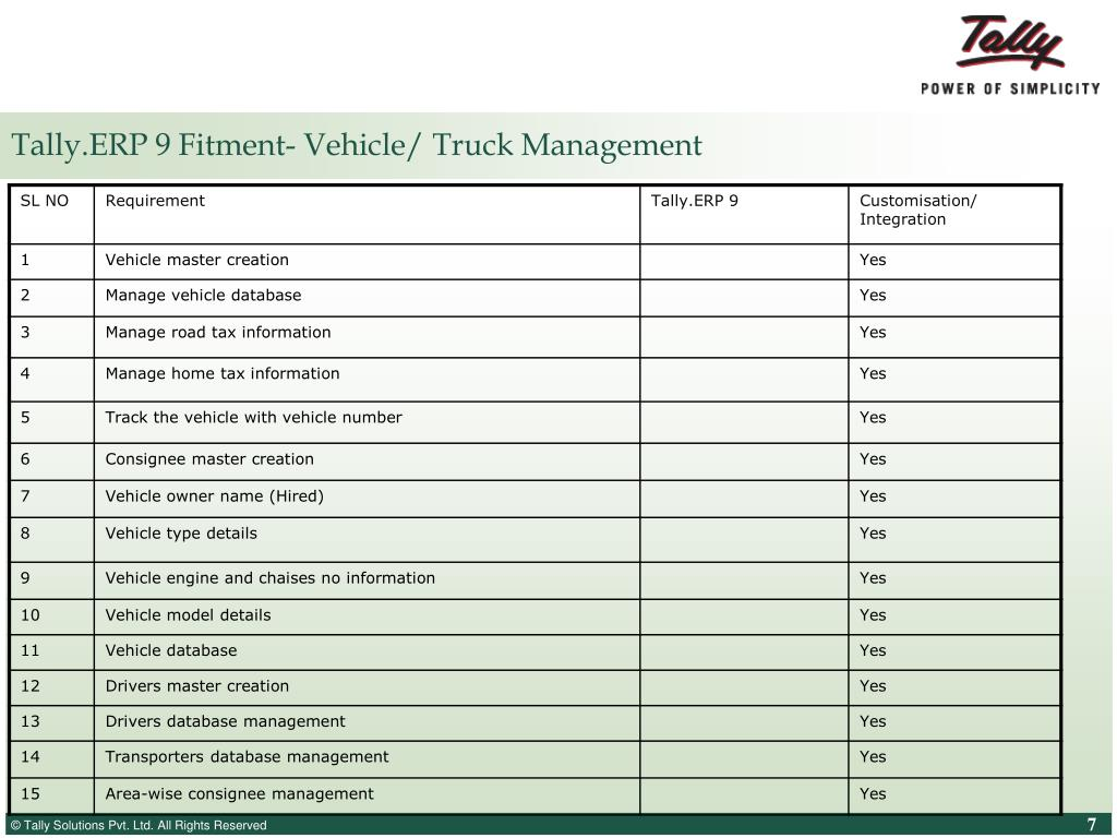 Tally.ERP 9 Fitment- Vehicle/ Truck Management