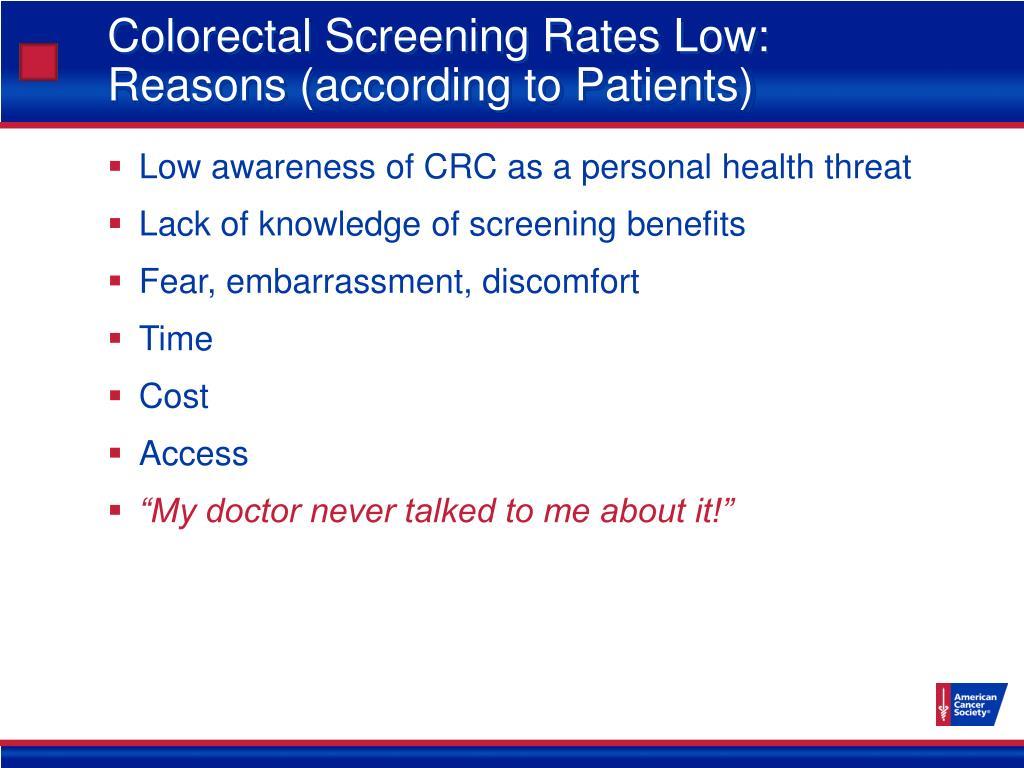 Colorectal Screening Rates Low:
