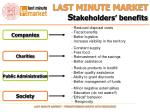 last minute market s takeholders benefits