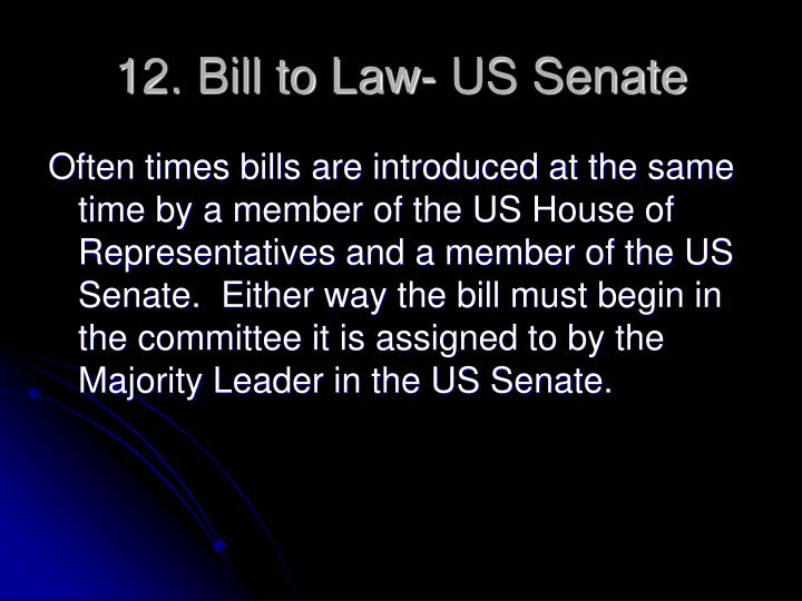 12. Bill to Law- US Senate