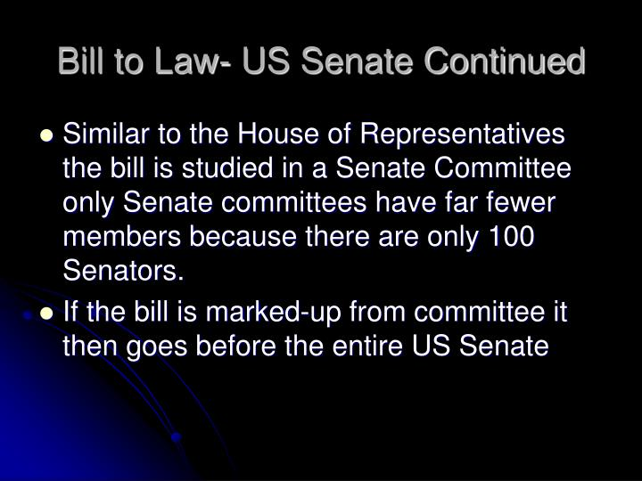 Bill to Law- US Senate Continued