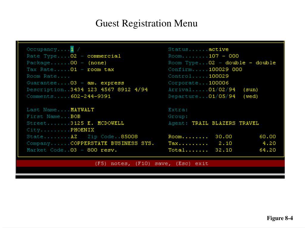 Guest Registration Menu