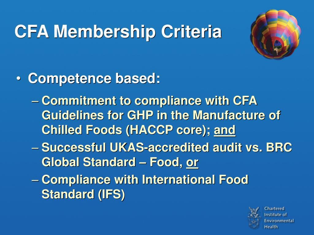 CFA Membership Criteria