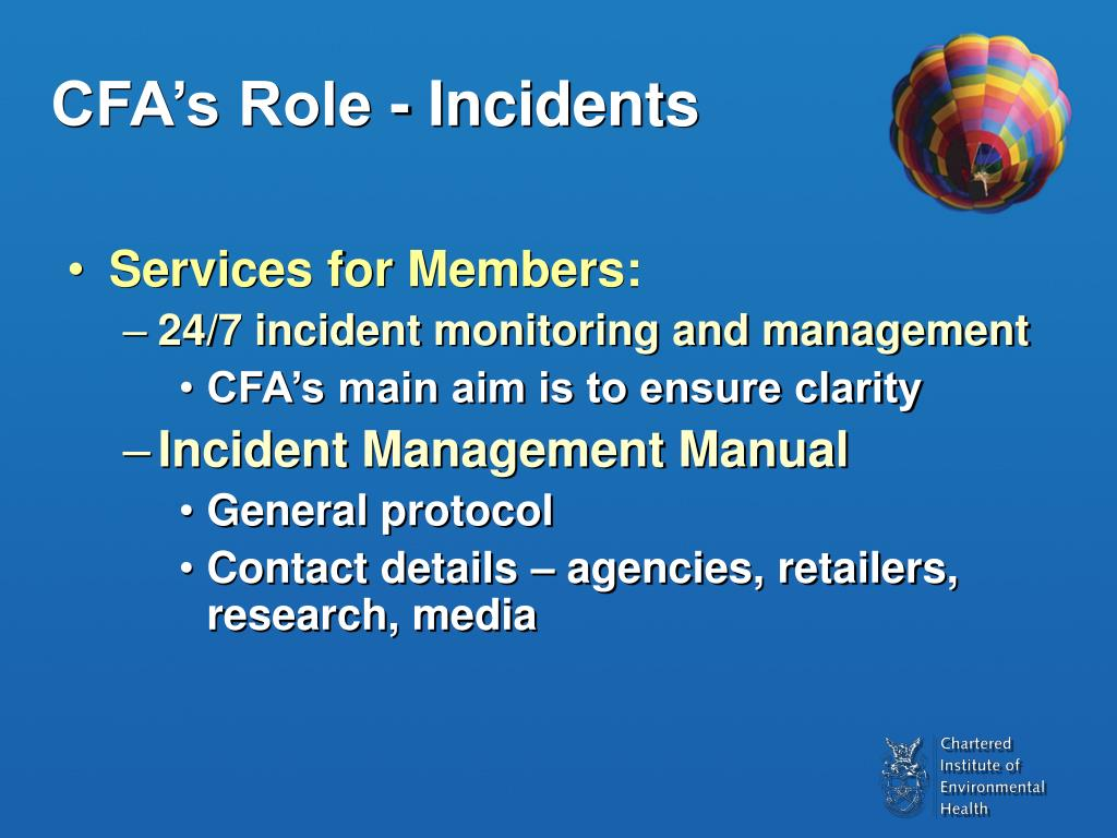 CFA's Role - Incidents